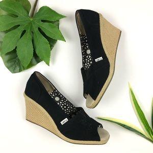 Toms Black Wedge Espadrilles peep toe Sandals